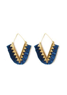 Splendid Iris Navy Pointed Fringe Earrings