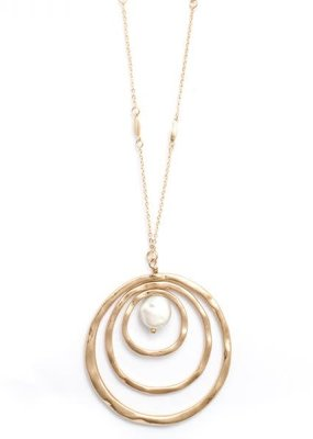 Splendid Iris Long Accented Chain with Triple Circle and MOP Gold