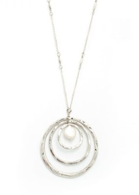 Splendid Iris Long Accented Chain with Triple Circle and MOP Silver