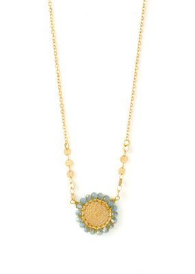 Splendid Iris Grey Woven Filigree Circle Gold Necklace