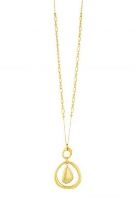 Splendid Iris Abstract Circle Necklace with Abstract Inner Oval Gold