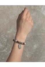 Lenny & Eva 10mm Gemstone Bracelet Silver Leaf Jasper