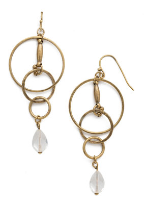 Interlocking Circles w Clear Crystal & Antique Gold Earring