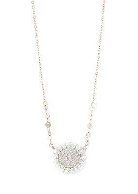 Splendid Iris White Woven Filigree Circle Silver Necklace