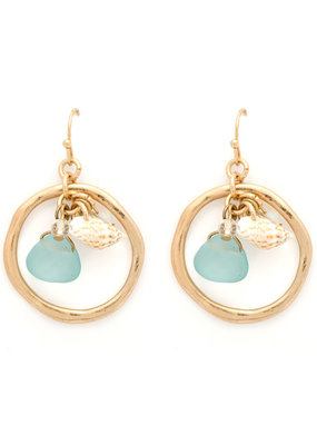 Splendid Iris Open Circle with Aqua Teardrop with Shell and Charms Gold Earrings