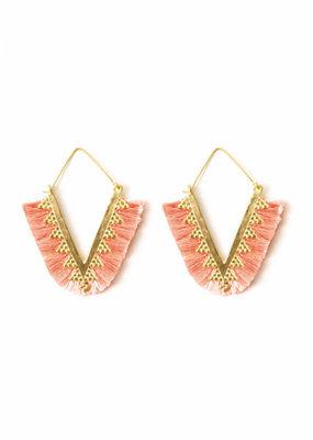 Splendid Iris Pink Pointed Fringe Earrings