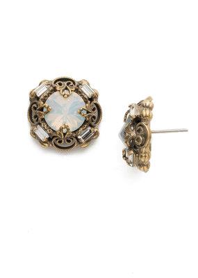 Sorrelli Allium Antique Gold Earrings in White Magnolia