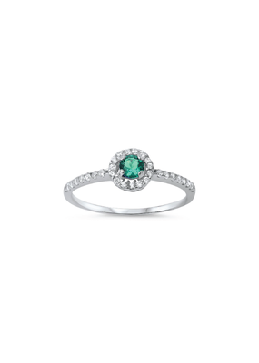 Sterling Silver Halo Emerald & Clear CZ Ring