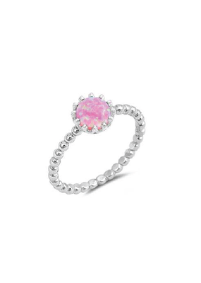 Sterling Silver Round Pink Opal Crown Ring