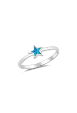 Sterling Silver Star Shaped Blue Opal Ring