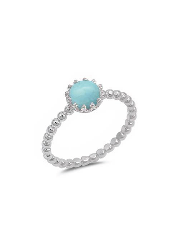 Sterling Silver Round Larimar Crown Ring