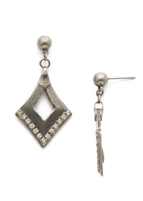 Tri to Love w Clear Crystal & Antique Silver Earring