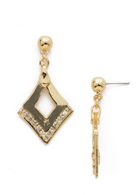 Tri to Love w Clear Crystal & Bright Gold Earring