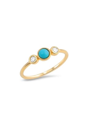Sterling Silver Gold Plated Turquoise Stone w CZ Ring