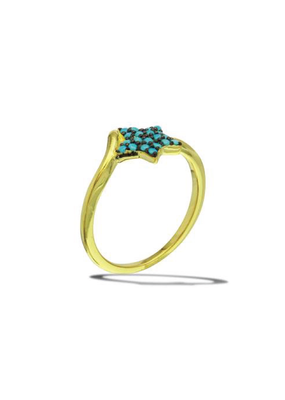 Sterling Silver Gold Plated Turquoise Star Ring