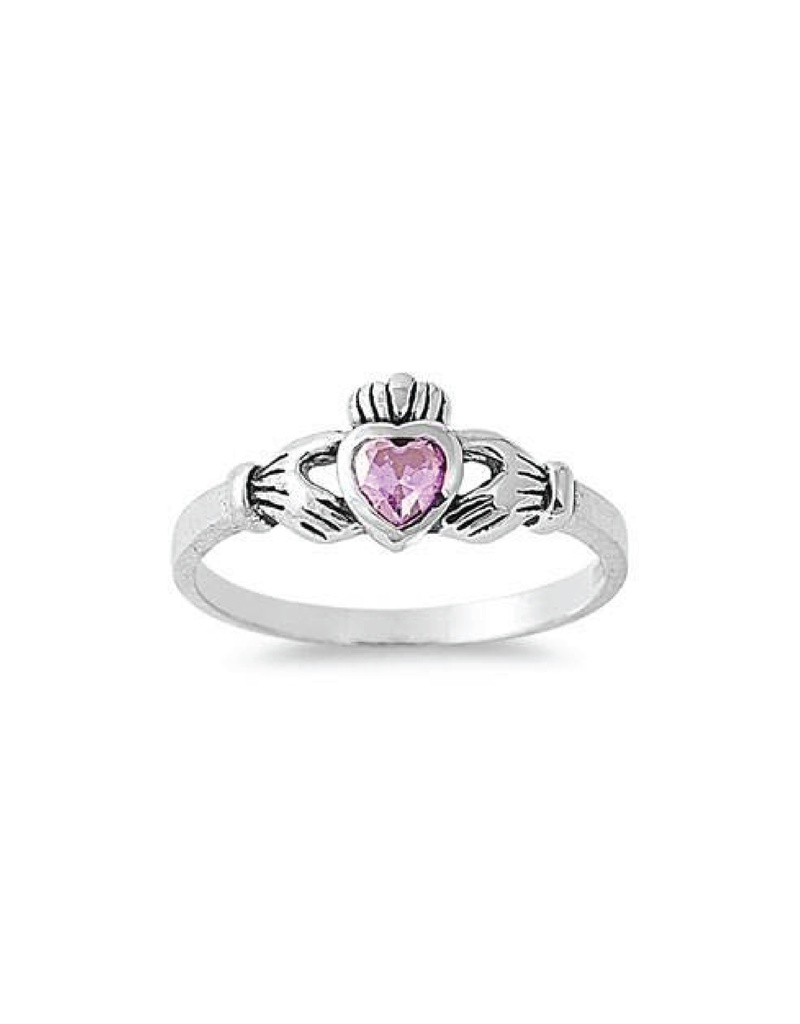 Sterling Silver Claddagh Shaped Pink CZ Ring