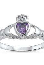 Sterling Silver Claddagh Shaped Amethyst CZ Ring