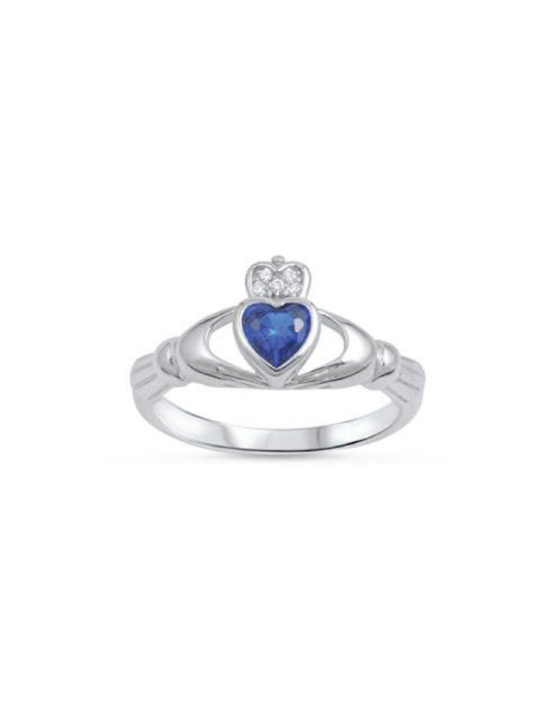 Sterling Silver Claddagh Shaped Blue Sapphire CZ Ring