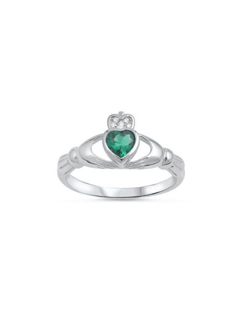 Sterling Silver Claddagh Shaped Emerald CZ Ring