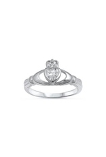 Sterling Silver Claddagh Shaped Clear CZ Ring