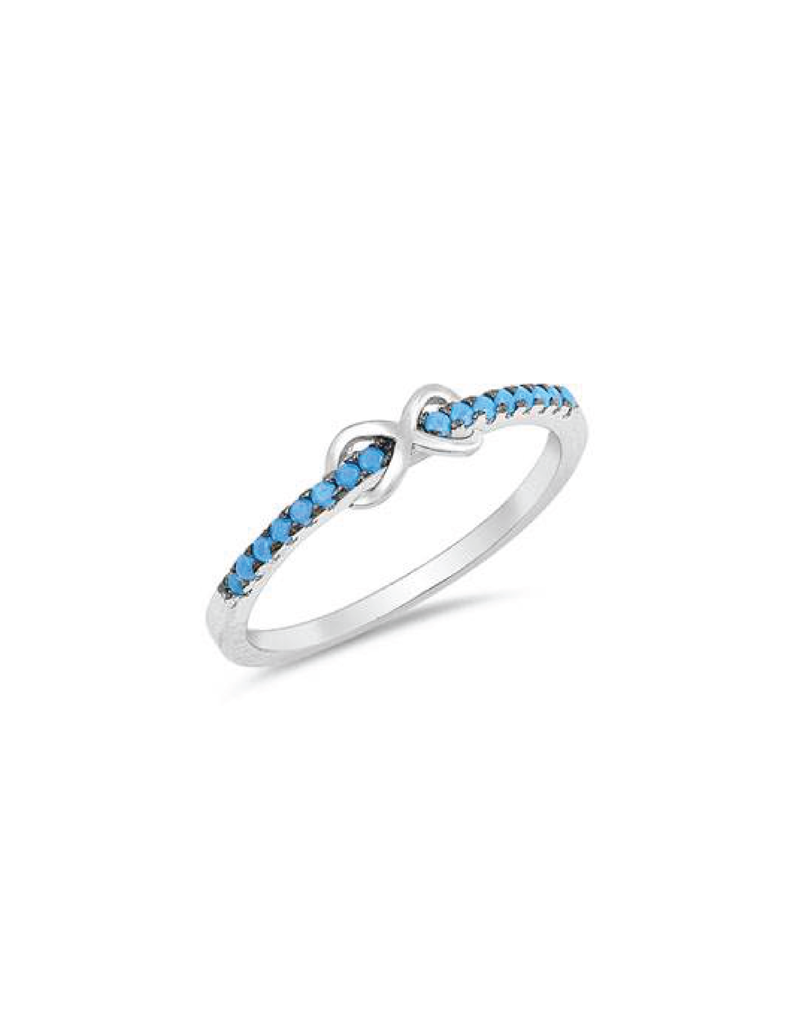 Sterling Silver Turquoise Infinity CZ Ring