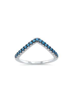 Sterling Silver V Shape Turquoise Ring