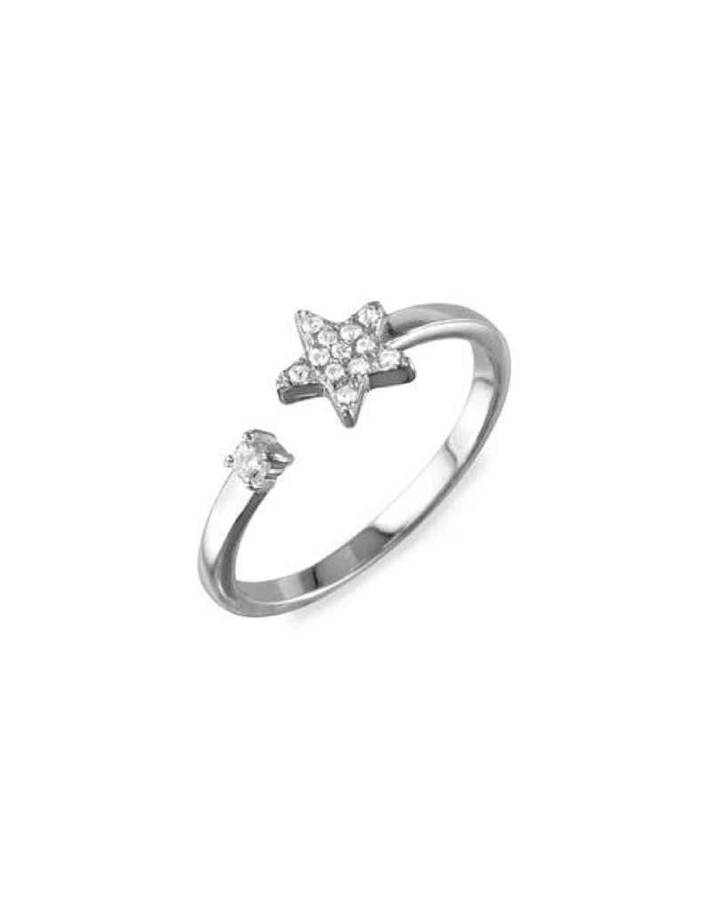 Sterling Silver Open Band CZ Star Ring