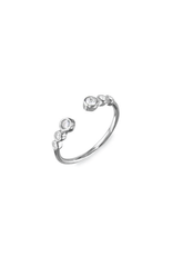 Sterling Silver Open Band 3 Cirlce CZ Ring
