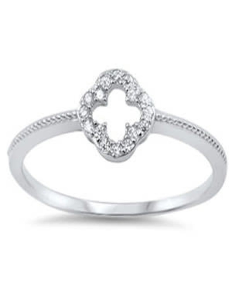 Sterling Clover CZ w Inlaid Design Ring