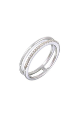 Sterling Silver Two Row CZ Ring