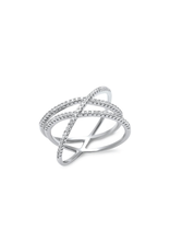 Sterling Silver CZ Criss Cross Design Ring