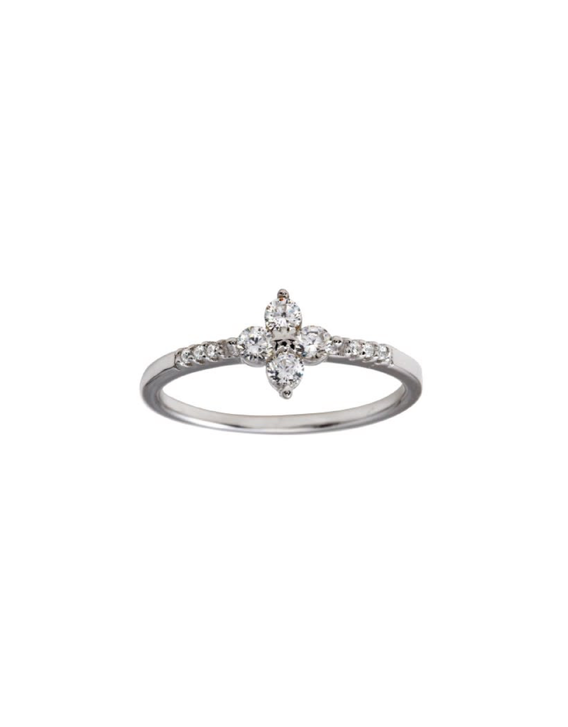 Qualita In Argento Italian Sterling Silver CZ Flower Ring