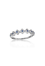 Sterling Silver Clover Band w Blue & Clear CZ Ring