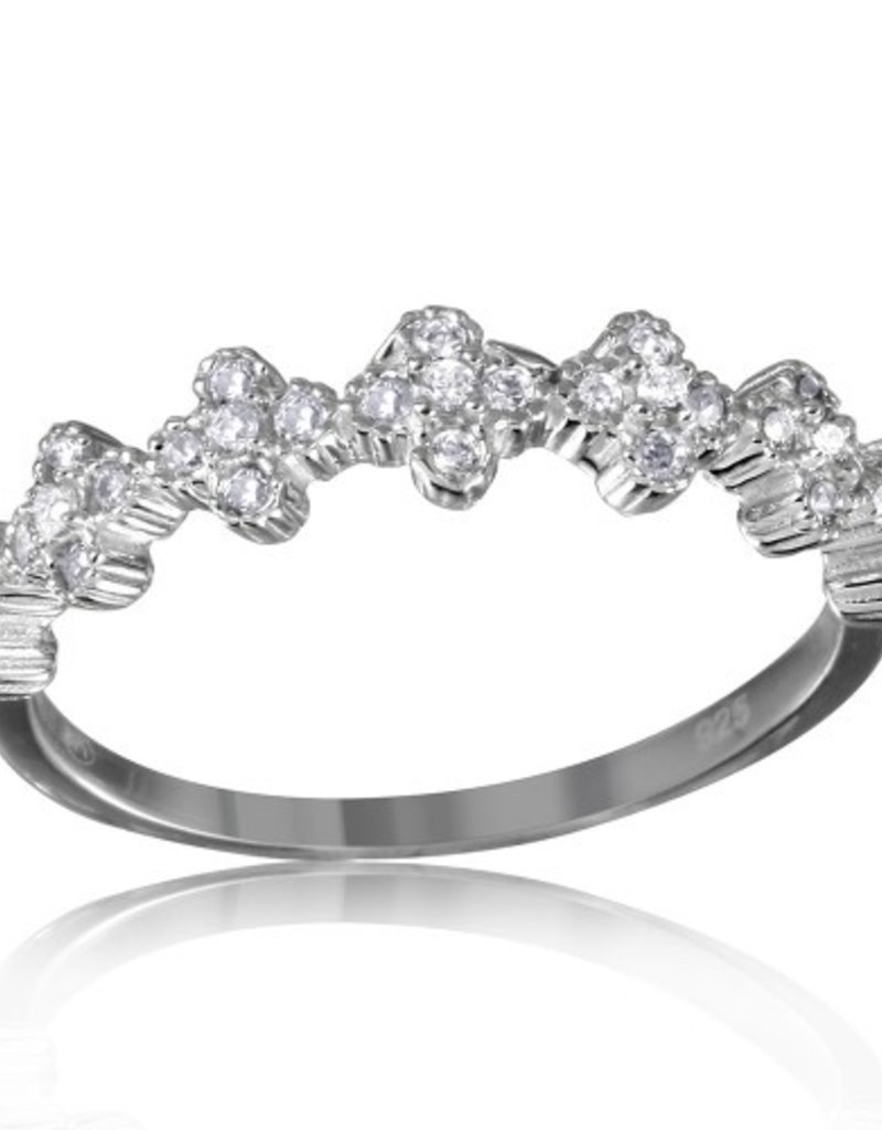 Sterling Silver Clover Band w Clear CZ Ring