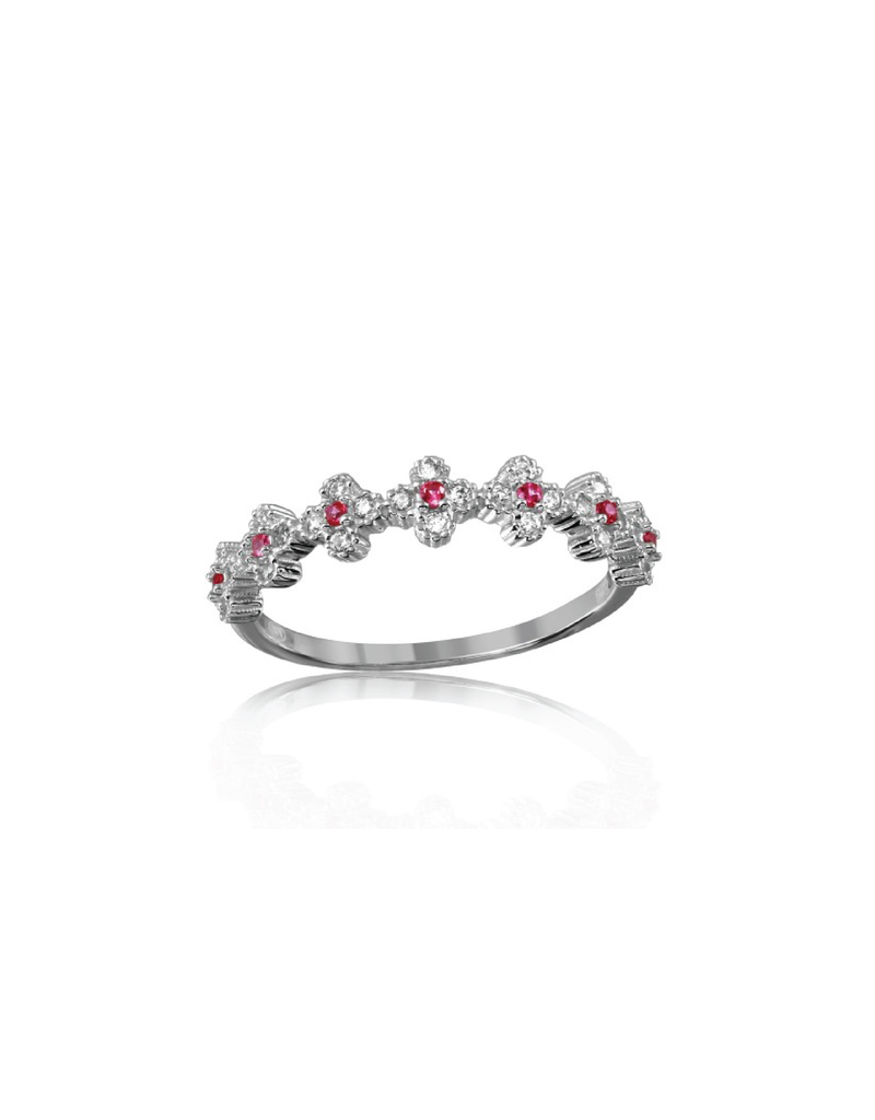 Sterling Silver Clover w Pink & Clear CZ Ring
