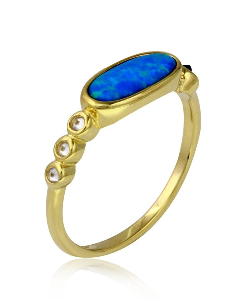 Sterling Silver Gold Plated Blue Oval + CZ Ring