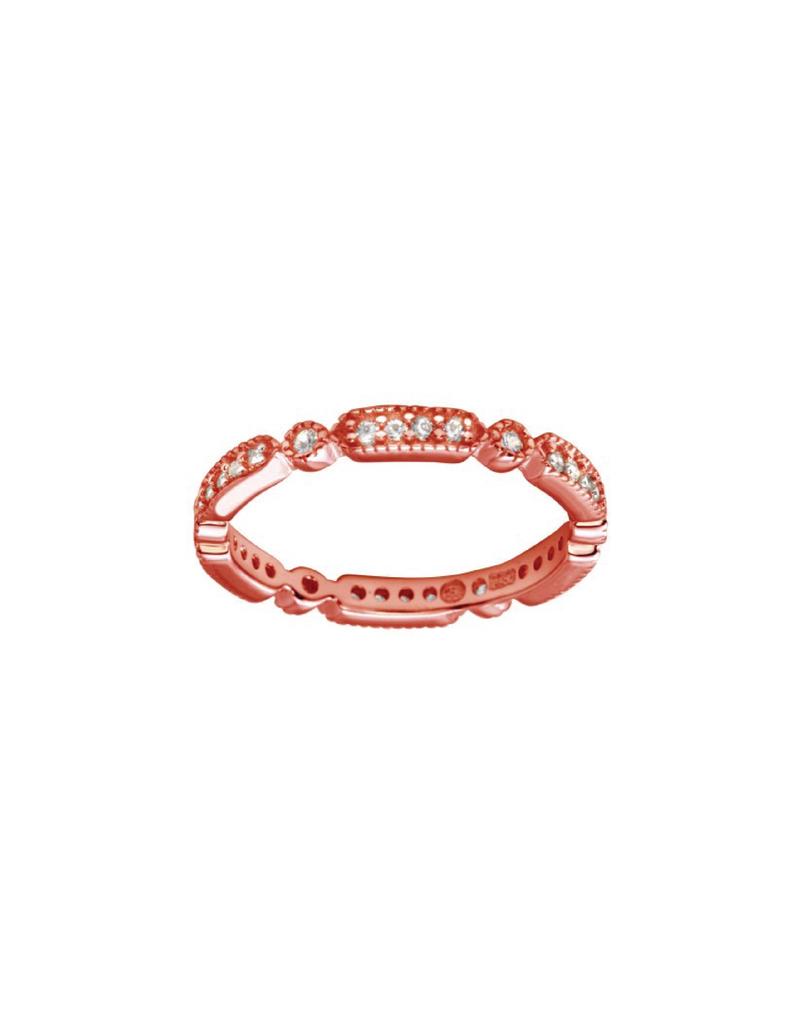 Sterling Silver Rose Gold Multi Shape CZ Ring