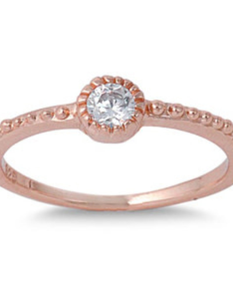Sterling Silver Rose Gold w CZ Stone Ring
