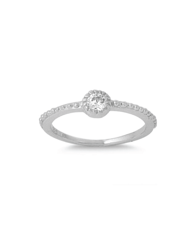 Sterling Silver CZ Stone Ring