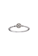 Sterling Silver Round 4 CZ w Design Band Ring