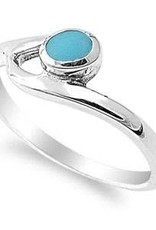 Sterling Silver w Stabilized Round Turquoise Stone Ring