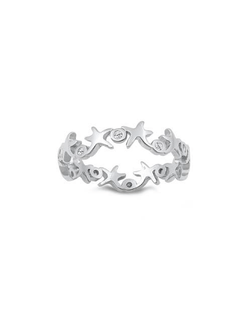 Sterling Silver Starfish Band w CZ Ring