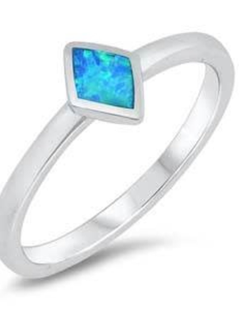 Sterling Silver Blue Opal Rhombus Ring