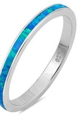 Sterling Silver Blue Opal Band Ring