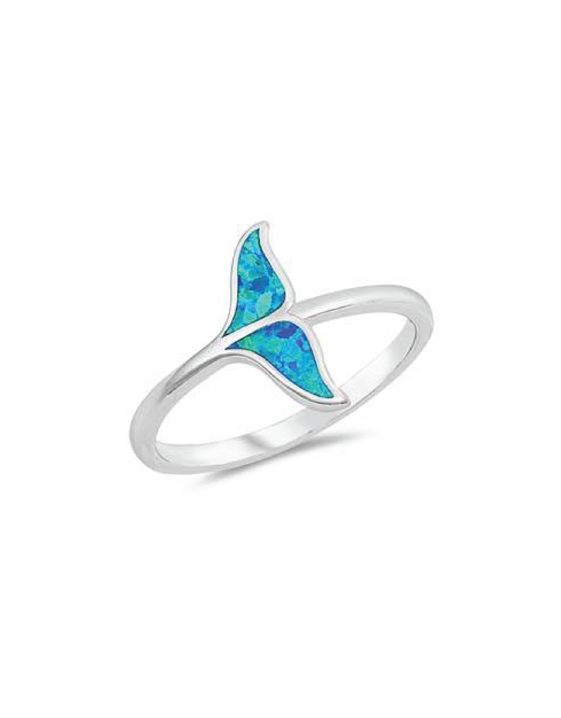 Sterling Silver Blue Opal Whale Tail Ring