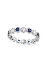 Sterling Silver Round Blue Sapphire & Clear CZ Ring