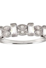 Italian Sterling Silver Marquis & Rectangle CZ Ring