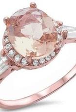 Sterling Silver Rose Gold Oval Morganite