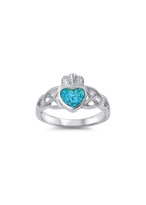 Sterling Silver Blue Opal Claddagh Ring