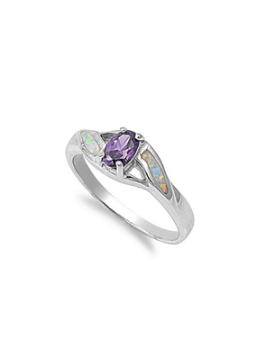 Sterling Amethyst and Opal Ring